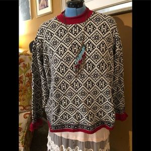 Talbots oversized Black and white Red trim sweater